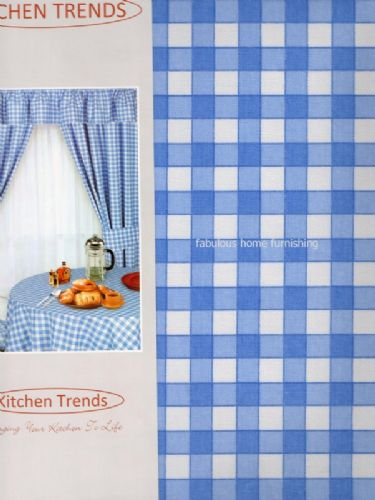 "KITCHEN COTTON PVC TABLECLOTH SQUARE 52""x52"" CHECK BLUE"